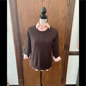 💗Women's Pink Oxford Shirt and Brown Sweater🤎